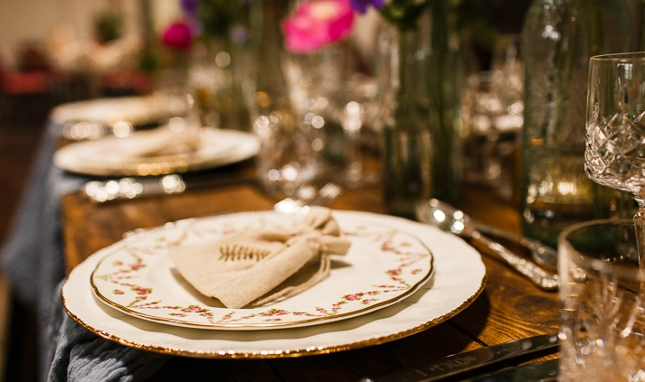 Vintage plate hire for weddings