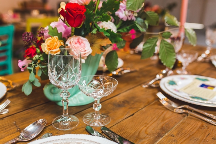 Vintage crystal glass hire for boho wedding