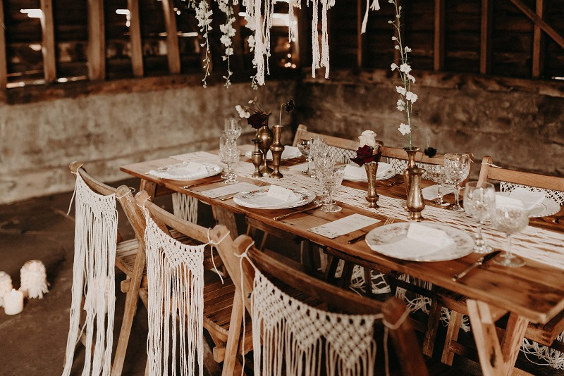 Vintage crockery hire for barn wedding