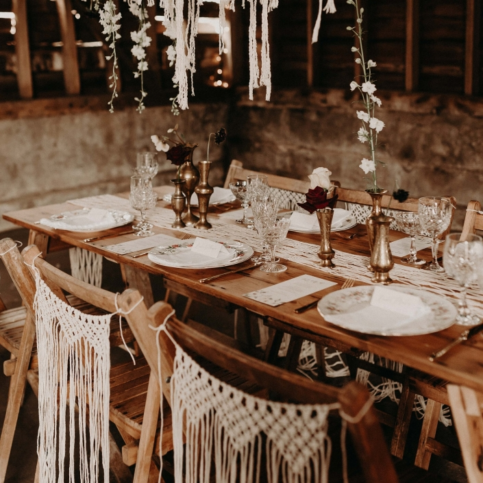 Wooden wedding tables