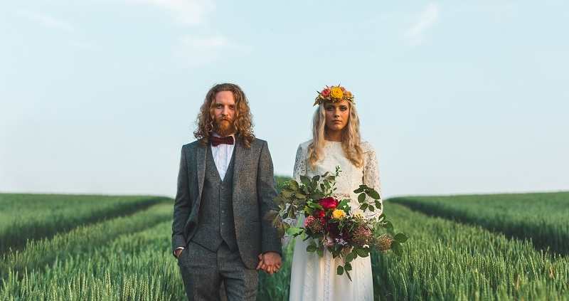 Outside wedding in corn field