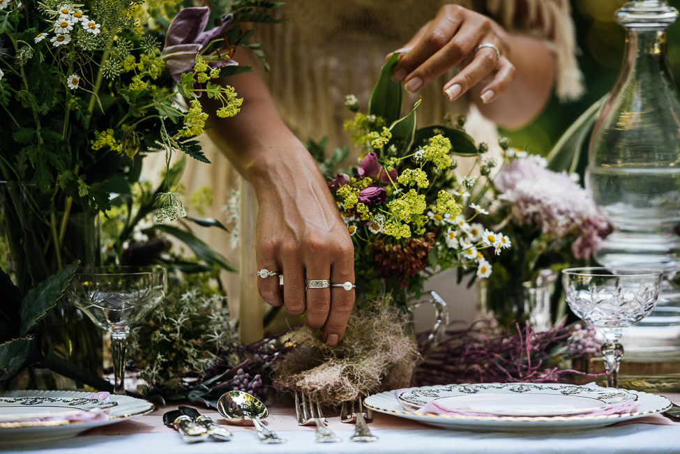 Boho woodland wedding tables