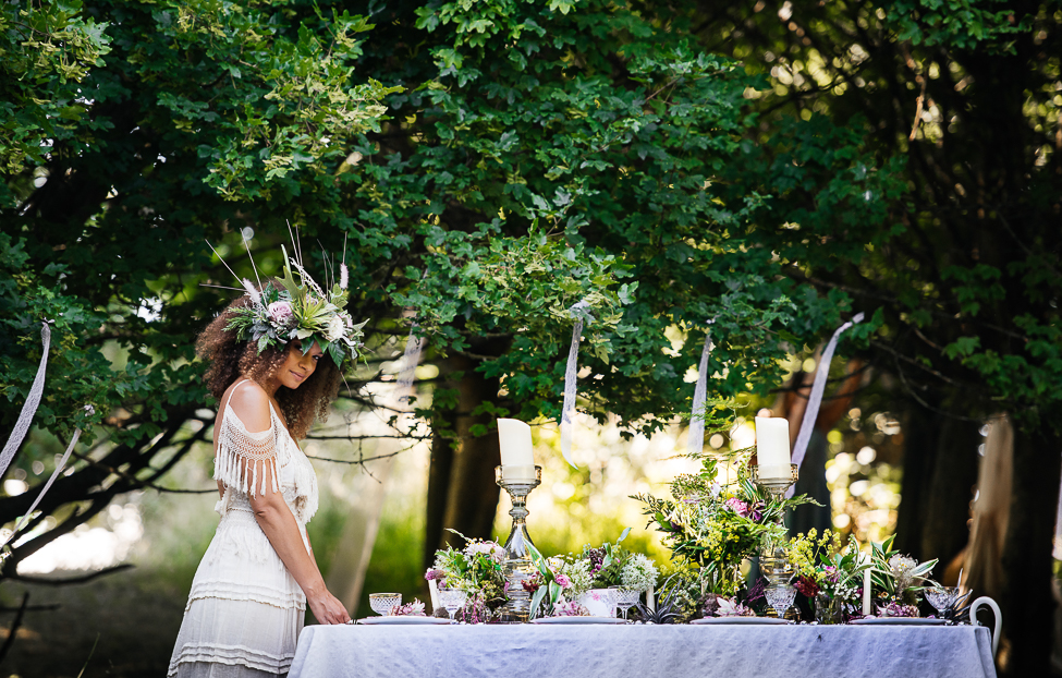 Boho woodland wedding in English countryside