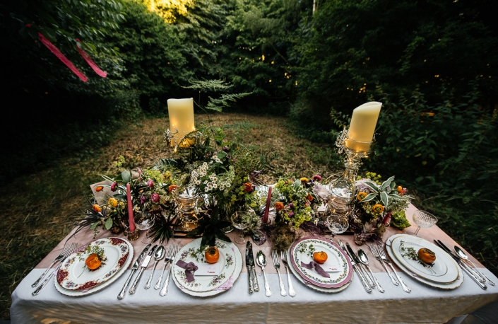 Crockery hire for boho English woodland wedding