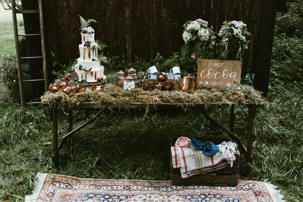 Hot Chocolate Stand for Woodland Wedding