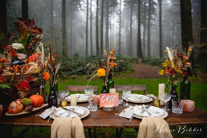 Rustic woodland wedding table ideas at Longton Woods
