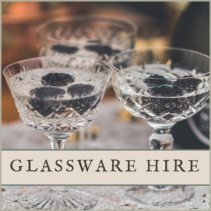 Vintage crystal glass hire for weddings