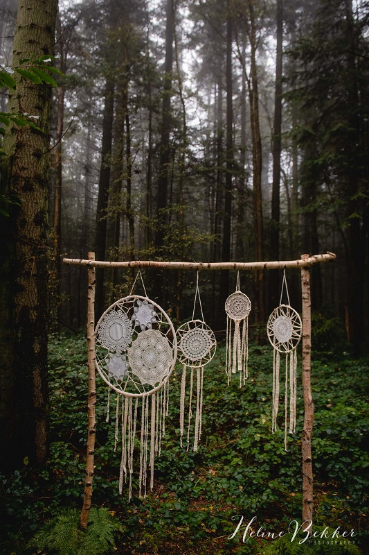 Woodland wedding dreamcatcher backdrop