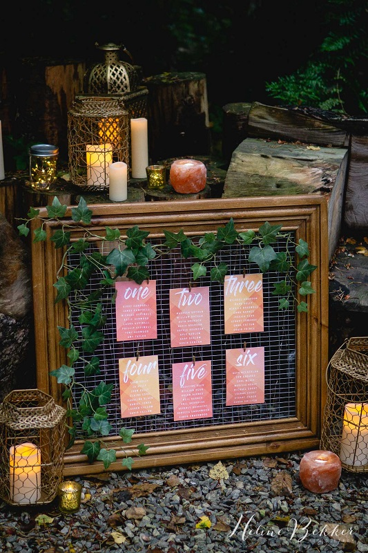 Woodland wedding table plan idea