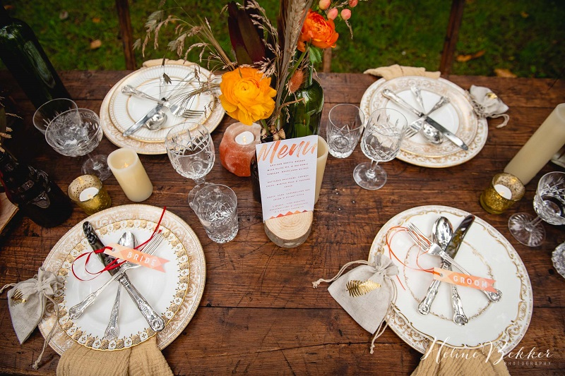 Woodland wedding table ideas with vintage china