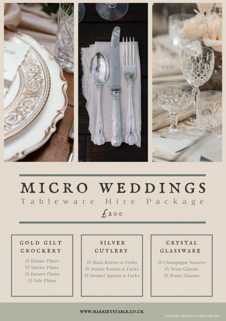Harriet's Table micro wedding hire package